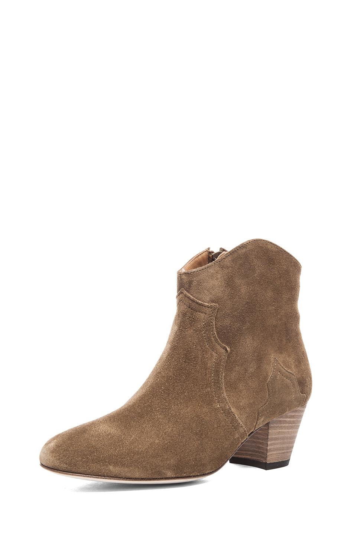 Isabel Marant Dicker Calfskin Velvet Booties in Brown