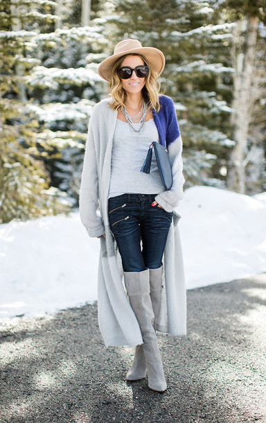 hello fashion blogger cardigan tank top hat knee high boots shoes bag sunglasses jewels