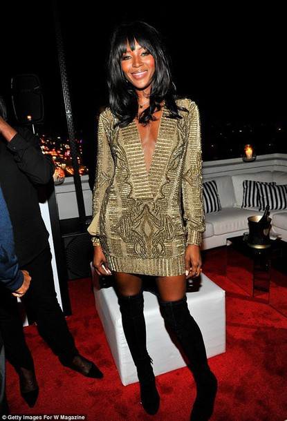 dress embellished dress naomi campbell