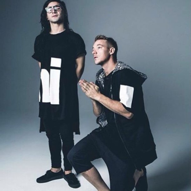 t-shirt long skrillex black t-shirt black and white style