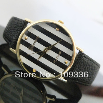 Aliexpress.com : Buy High Quality Hot New Geneva Platinum Brand Stripes Big Dial Leather Band Women Lady Watch Gift Birthday Christmas Party Dress from Reliable dress watch women suppliers on HK-Gift Store.