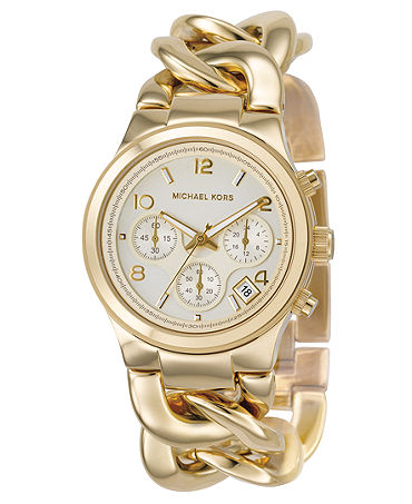 Michael Kors Watch, Women's Chronograph Runway Twist Gold-Tone Ion-Plated Stainless Steel Bracelet 38mm MK3131 - For Her - Macy's