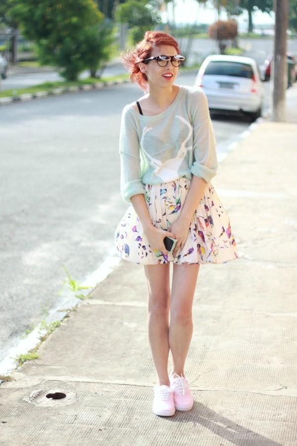 my name is glenn sweater skirt sunglasses