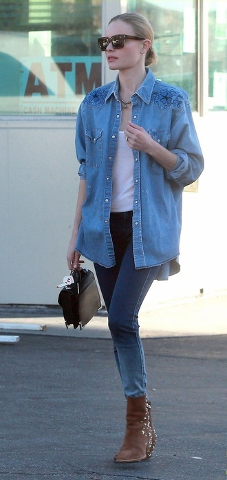fall outfits kate bosworth denim shirt shirt bag