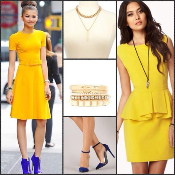 gold zendaya yellow dress