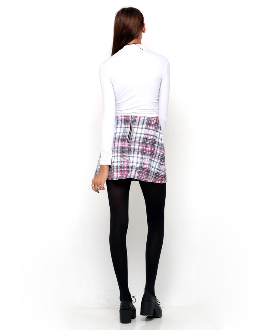 Buy Motel Annie A Line Mini Skirt in Pink Tartan at Motel Rocks