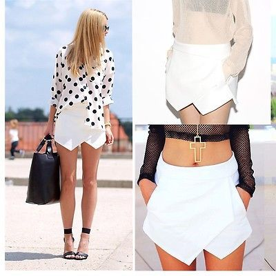 Hot women skorts asymmetric tiered culottes shorts with invisible zip…