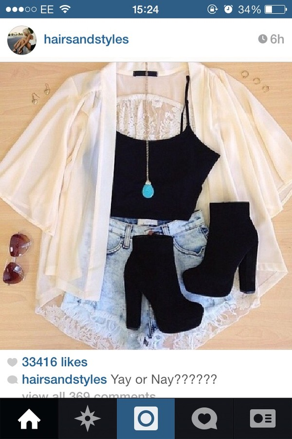 jacket blouse kimono shorts shoes top black white high heels cute tank top jewels clothes high heel booties black heels little black boots black high heels cardigan boots heels