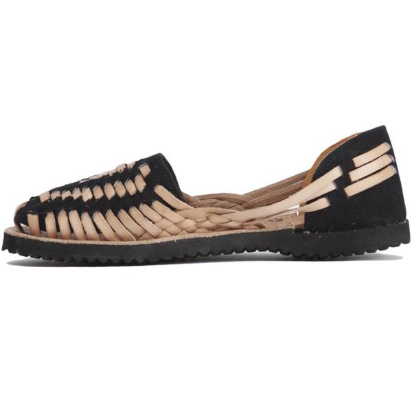 Black Woven Leather Huarache Sandals | Ix Sandals | Ix Style
