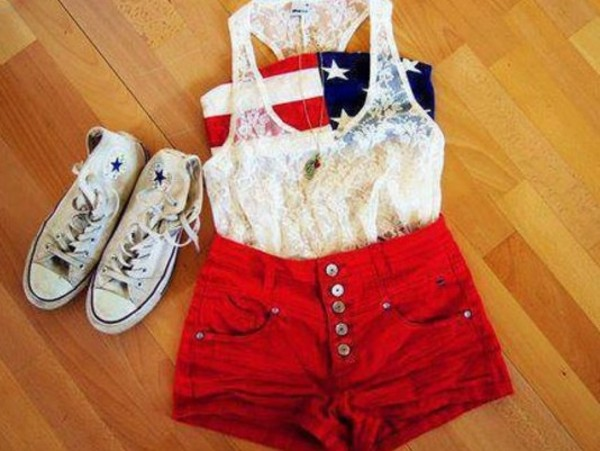 tank top shorts shoes blouse