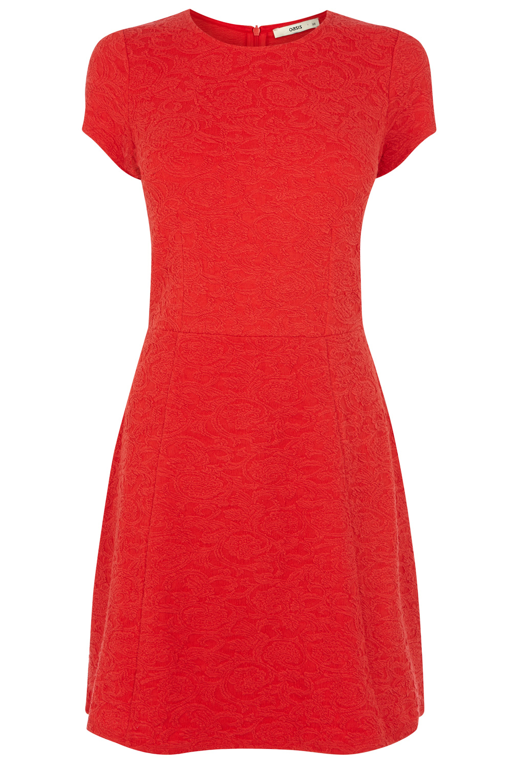 Textured Jacquard Skater Dress   Red   Oasis Stores