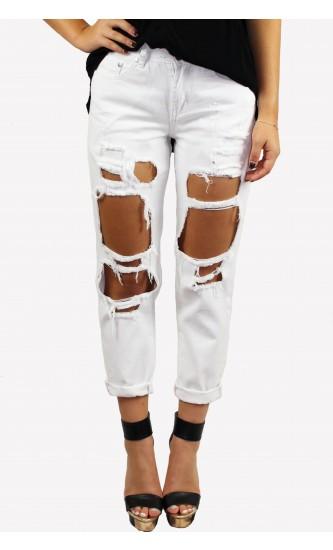 Boyfriend Ripped Jeans White