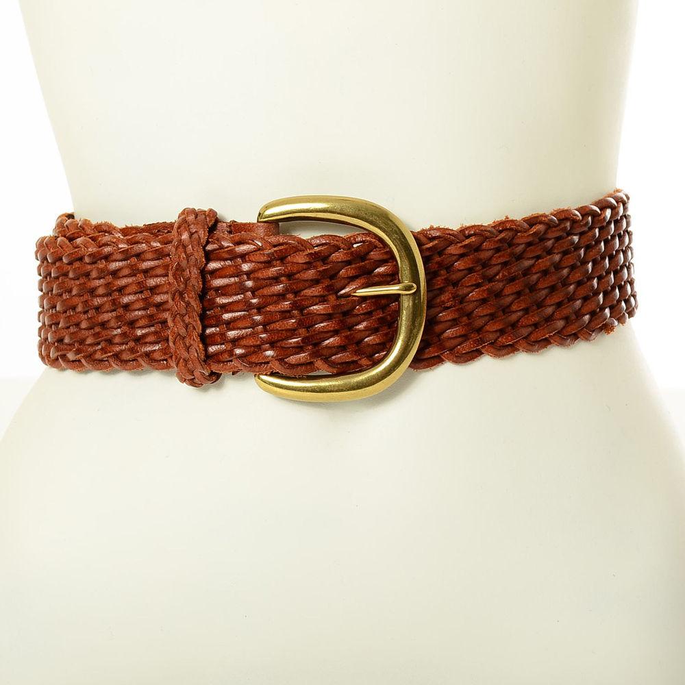 Vtg 80s Brown WOVEN Brass Wide Boho Hippie BRAIDED Leather Cinch Waist Belt | eBay