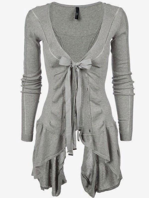 blouse grey sweater cardigan cute bow shirt