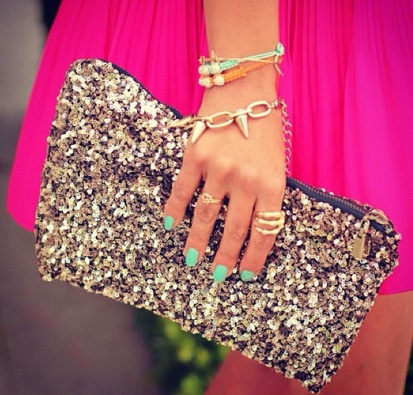 Gold Sequin Clutch  on Luulla