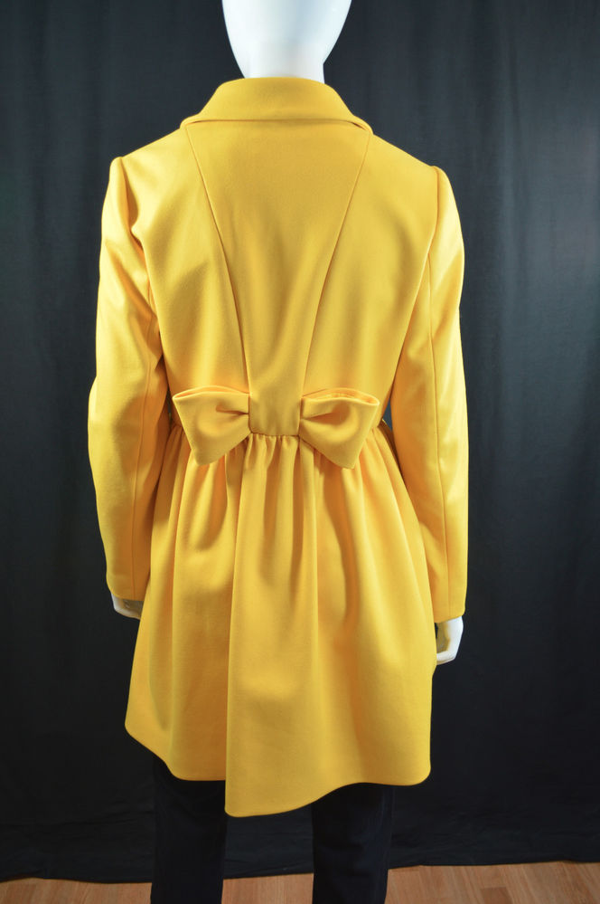 "Red Valentino Sunny Yellow ""Capi Lunghi"" Coat w Bow at Mid Back Sz 6 