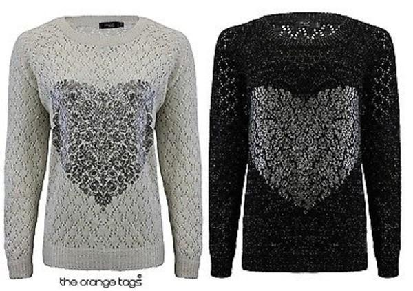 sweater heart print crochet knitwear jumper cardigan pullover black grey women valentines day