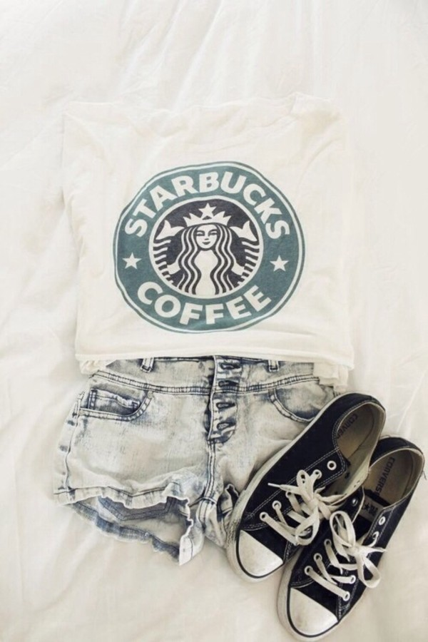 t-shirt t-shirt style outfit cute outfits swag white girl coffee starbucks coffee top jeans shorts shoes shirt tank top bag