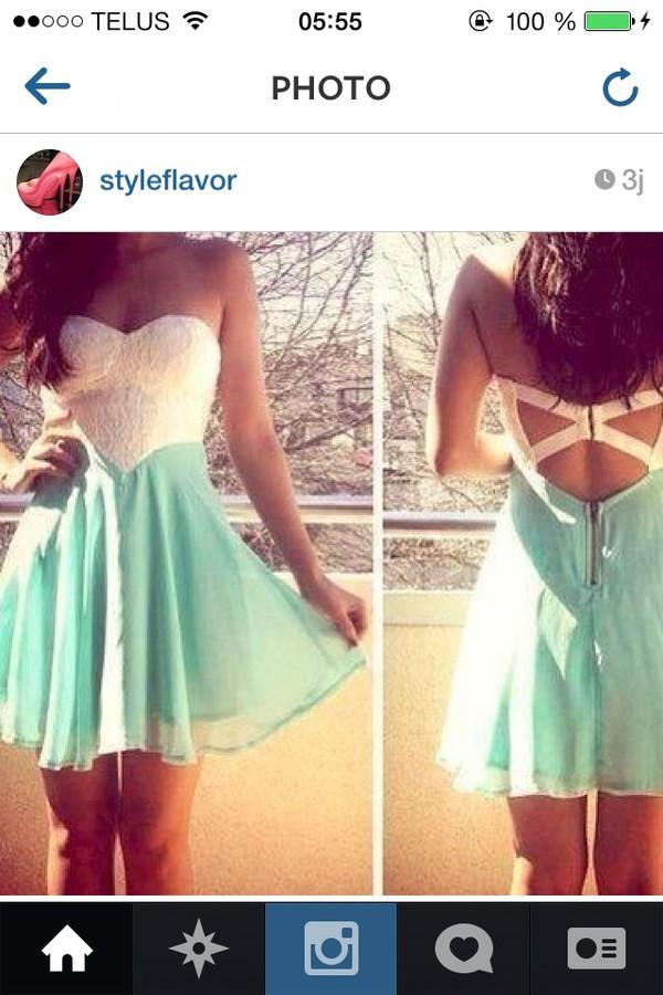 dress aqua white dress