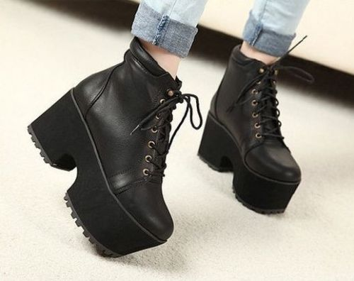 Black Womens Chunky Rock Mid Heels Thick Sole Lace Up Ankle Combat Riding Boots | eBay