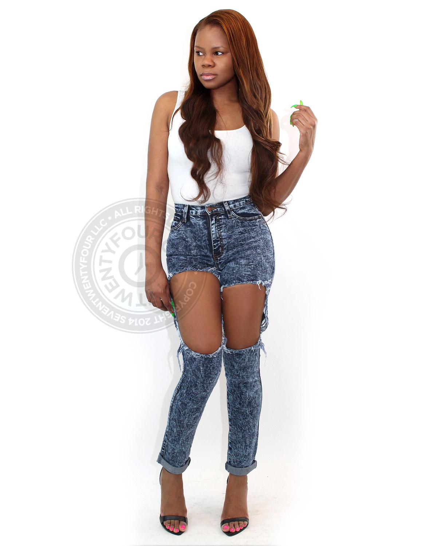 distressed thigh cut out jeans | high waist jeans | 7twentyfour.com