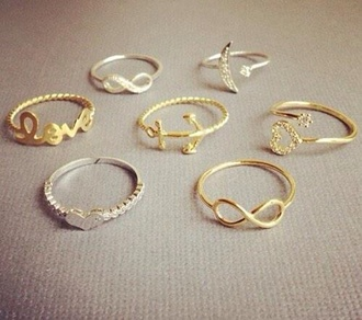 jewels ring infinity moon jewelry heart anchor elegant gold ring
