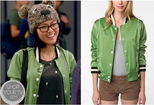 Awkward: Season 3 Episode 1 Ming's Green Varsity Jacket | ShopYourTvShopYourTv