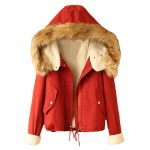 Preppy Style Lambswool Lined Hooded Parka - Clothing