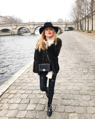 caroline louis pardonmyobsession blogger pants sweater shoes winter outfits felt hat boots chanel bag fur coat