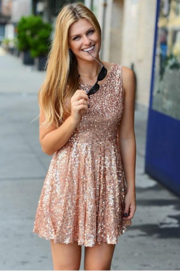 dress style ootd fashion instastyle igstyle igfashion sequins girly sequin dress gold rose gold