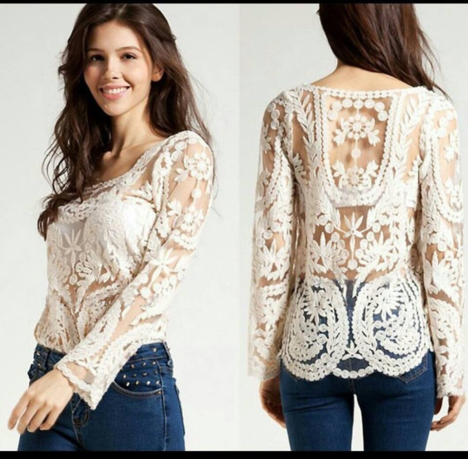 2014 Black White Dress Sweet Sexy Long Sleeve Embroidery Floral Lace Crochet | eBay