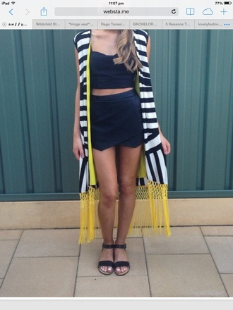 cardigan stripes yellow fringes tassel maxi cardigan maxi vest vest cape black and white shoes socks top