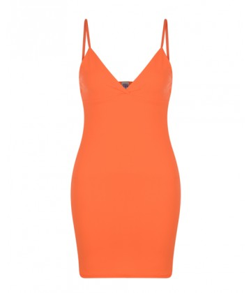 Orange Strappy Bodycon Dress - Rebel Rebel Clothing