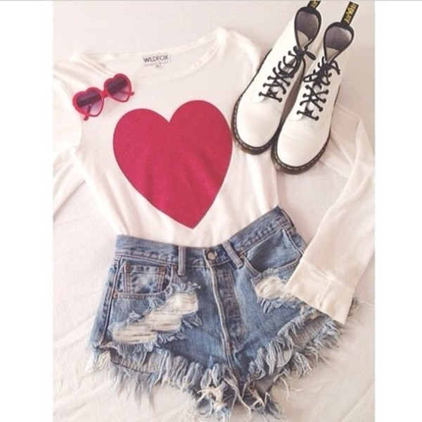 shirt wildfox white red heart cute shorts sunglasses blouse shoes combat boots graphic tee graphic tee t-shirt combat boots heart tee High waisted shorts heart sunglasses t-shirt high waisted