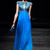 Unique Graceful Chiffon High Neck Blue Chiffon Evening Long Dress Online