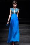 Unique Graceful Chiffon High Neck Blue Chiffon Evening Long Dress Online