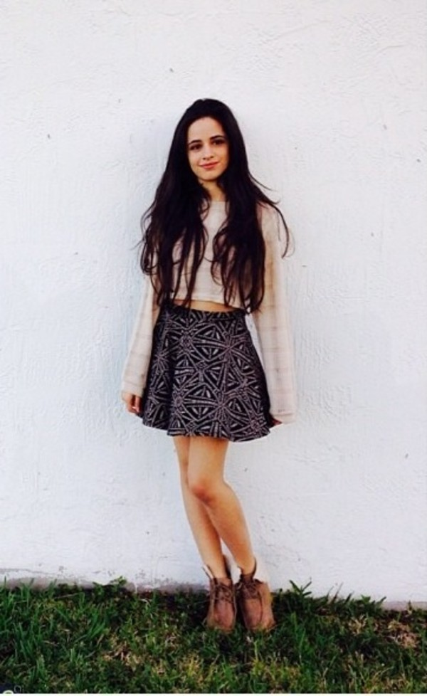 skirt sweater clothes camila cabello boots