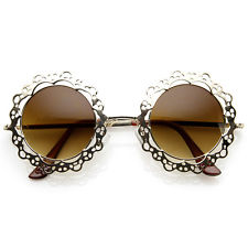 Designer Womens Fashion Metal Cut-Out Lace Circle Round Sunglasses 8963 | eBay