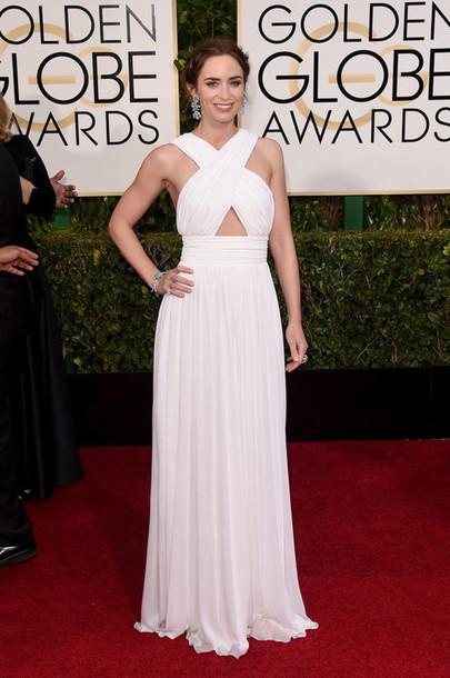 dress emily blunt michael kors white dress red carpet dress white prom dress Golden Globes 2015