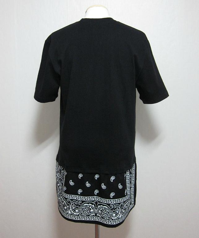 New Split Hem Extended Length Paisley Bandana Graphic T Shirt Black White | eBay