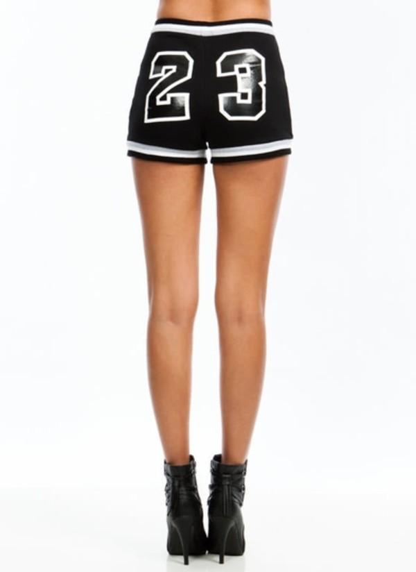 shorts 23 black n white tight shorts