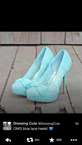 shoes light blue high heel crochet