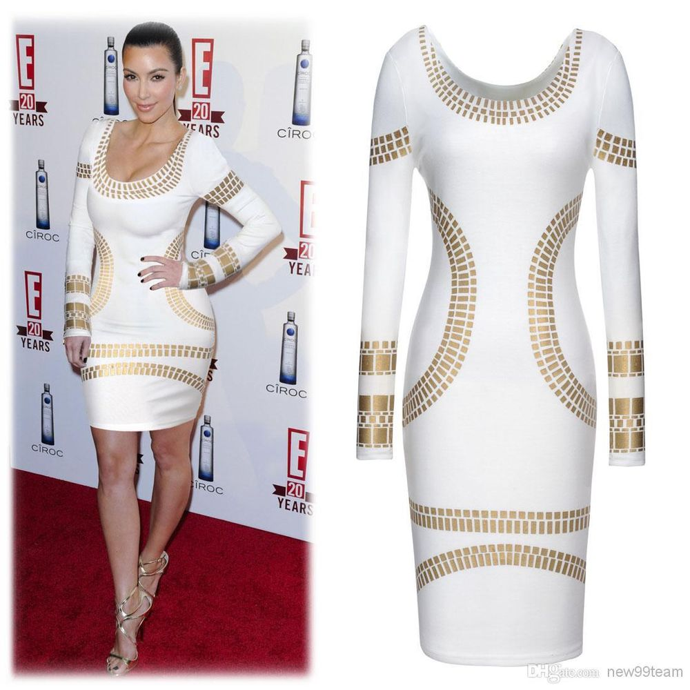 Sexy White Gold Foil Bodycon Dress Cocktail Celebrity Kim Kardashian Style   eBay