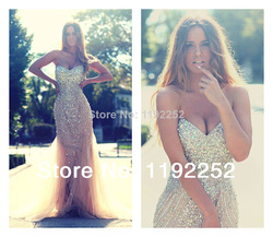 Online Shop Custom Made Free Shipping Charming Sexy Sweetheart Tulle Prom Dresses 2014 Floor Length Mermaid Evening Gowns 2014 New Arrival Aliexpress Mobile