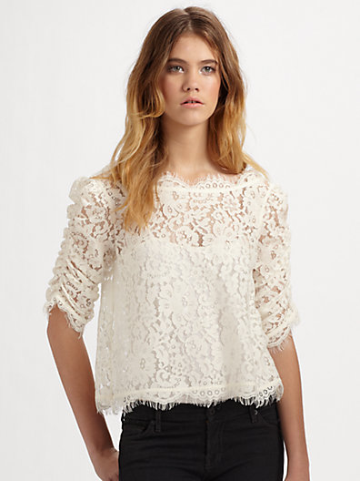 Joie - Fanny Cropped and Scalloped Lace Top - Saks.com