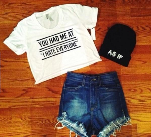hat beanie beanie crop tops High waisted shorts shirt