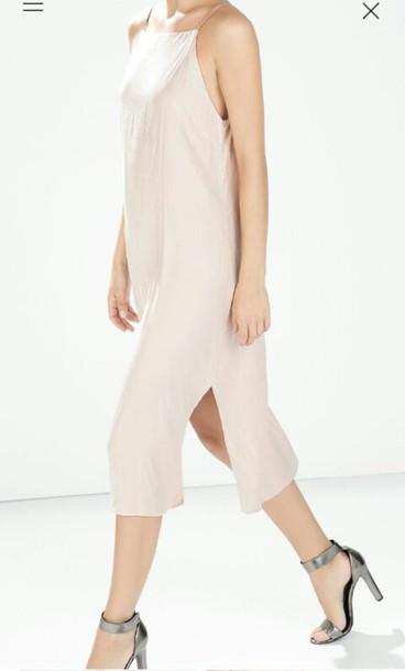 dress light pink long short