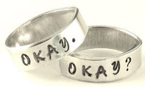 Amazon.com: Okay? Okay. Cloud Inside Two Hand Stamped Aluminum Spiral Rings Set Pair Friendship BFF: Everything Else