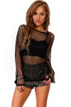 Trendy Cute black fishnet bell sleeve clubbing top for cheap. Womens Clothing -1015store