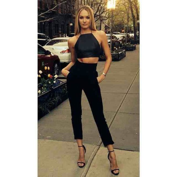 candice swanepoel high waisted pants black crop top halter neck cropped pants black pants pants blouse shoes